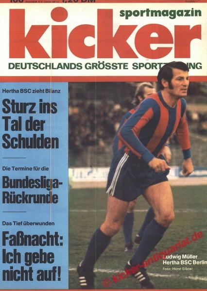 Kicker Sportmagazin Nr. 100, 11.12.1972 bis 17.12.1972