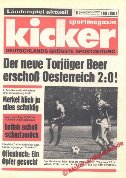 Kicker Sportmagazin Nr. 71, 4.9.1975 bis 10.9.1975