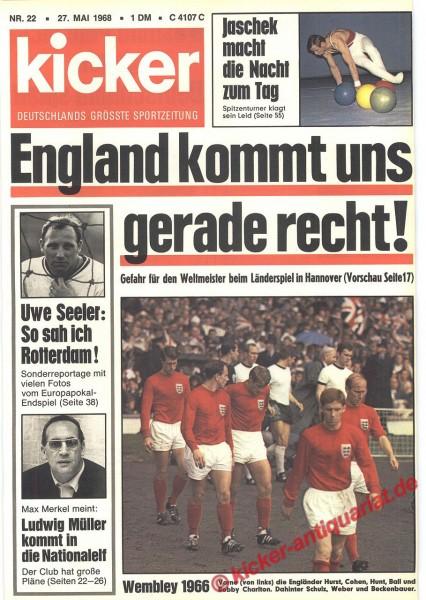 Kicker Sportmagazin Nr. 22, 27.5.1968 bis 2.6.1968