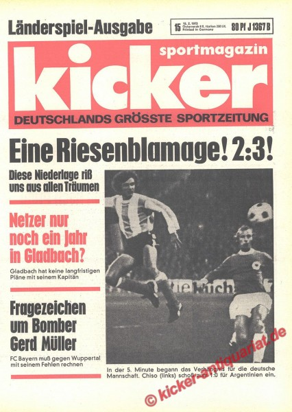 Kicker Sportmagazin Nr. 15, 15.2.1973 bis 21.2.1973
