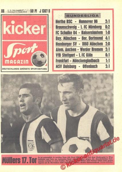 Kicker Sportmagazin Nr. 88, 31.10.1968 bis 6.11.1968