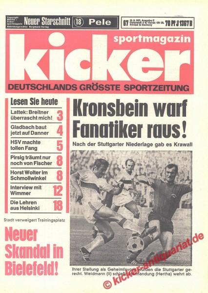 Kicker Sportmagazin Nr. 67, 19.8.1971 bis 25.8.1971