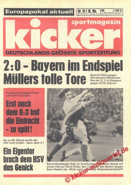 Kicker Sportmagazin Nr. 31, 15.4.1976 bis 21.4.1976