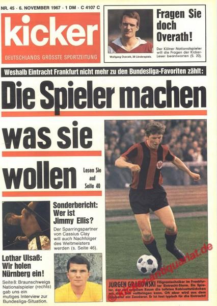 Kicker Sportmagazin Nr. 45, 6.11.1967 bis 12.11.1967