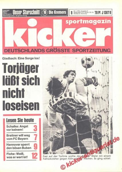 Kicker Sportmagazin Nr. 9, 27.1.1972 bis 2.2.1972