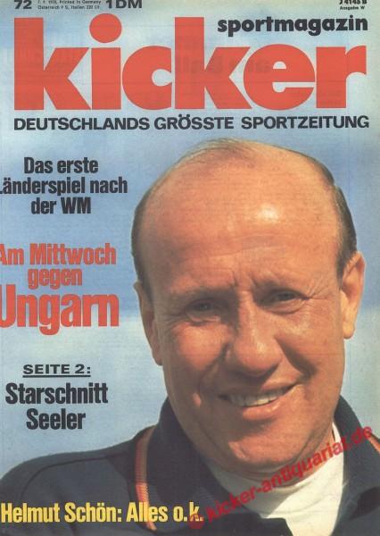 Kicker Sportmagazin Nr. 72, 7.9.1970 bis 13.9.1970