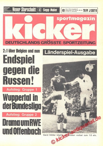 Kicker Sportmagazin Nr. 49, 15.6.1972 bis 21.6.1972