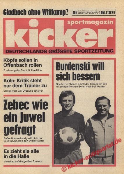 Kicker Sportmagazin Nr. 105, 31.12.1975 bis 6.1.1976