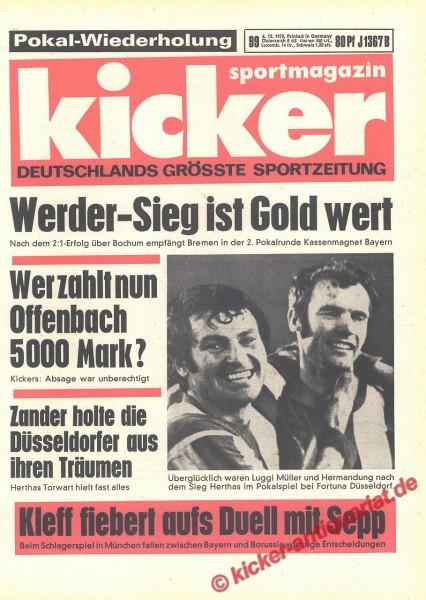 Kicker Sportmagazin Nr. 99, 6.12.1973 bis 12.12.1973