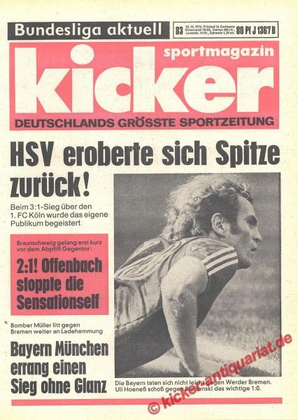Kicker Sportmagazin Nr. 83, 10.10.1974 bis 16.10.1974