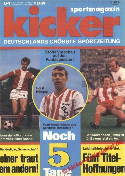 Kicker Sportmagazin Nr. 64, 9.8.1971 bis 15.8.1971