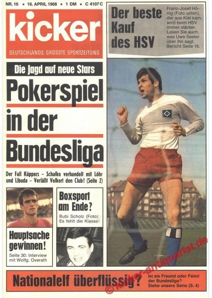 Kicker Sportmagazin Nr. 16, 16.4.1968 bis 22.4.1968
