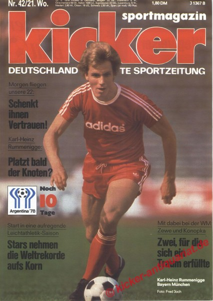 Kicker Sportmagazin Nr. 42, 22.5.1978 bis 28.5.1978