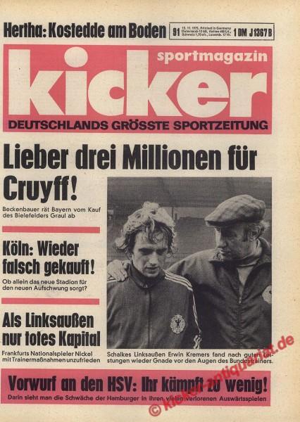 Kicker Sportmagazin Nr. 91, 13.11.1975 bis 19.11.1975