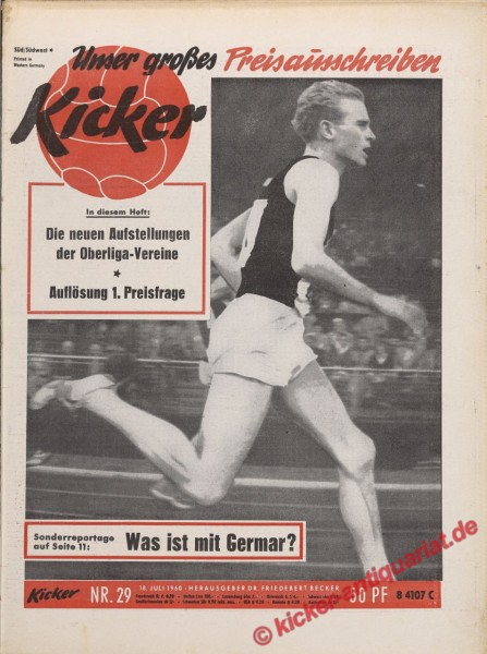 Kicker Nr. 29, 18.7.1960 bis 24.7.1960