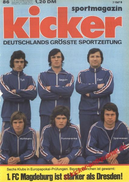 Kicker Sportmagazin Nr. 86, 21.10.1974 bis 27.10.1974