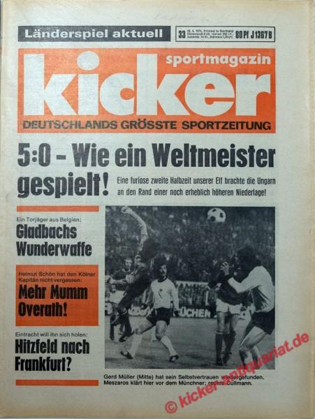 Kicker Sportmagazin Nr. 33, 18.4.1974 bis 24.4.1974