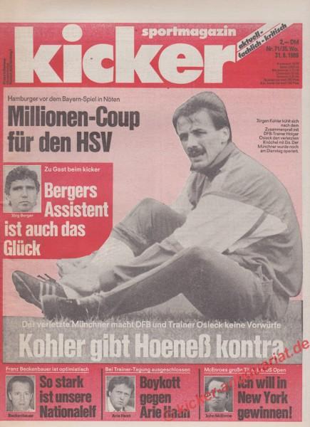 Kicker Sportmagazin Nr. 71, 31.8.1989 bis 6.9.1989