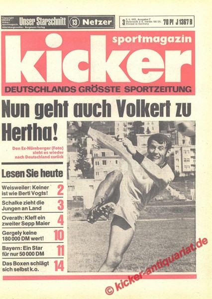 Kicker Sportmagazin Nr. 3, 7.1.1971 bis 13.1.1971