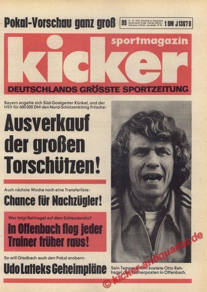 Kicker Sportmagazin Nr. 99, 11.12.1975 bis 17.12.1975