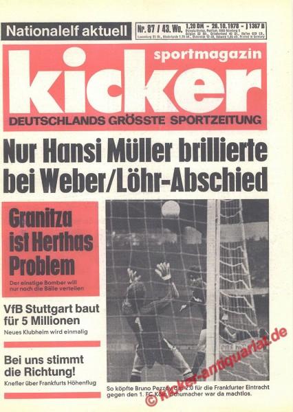 Kicker Sportmagazin Nr. 87, 26.10.1978 bis 1.11.1978