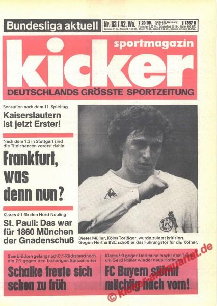 Kicker Sportmagazin Nr. 83, 13.10.1977 bis 19.10.1977