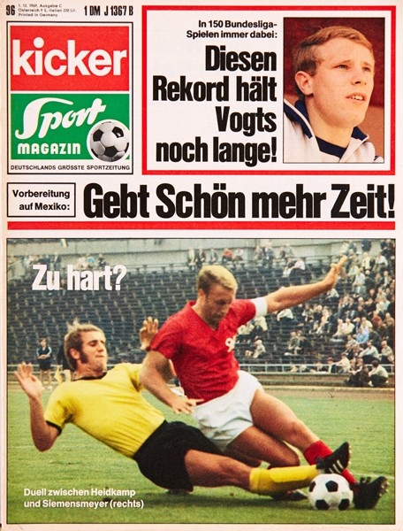 Kicker Sportmagazin Nr. 96, 1.12.1969 bis 7.12.1969