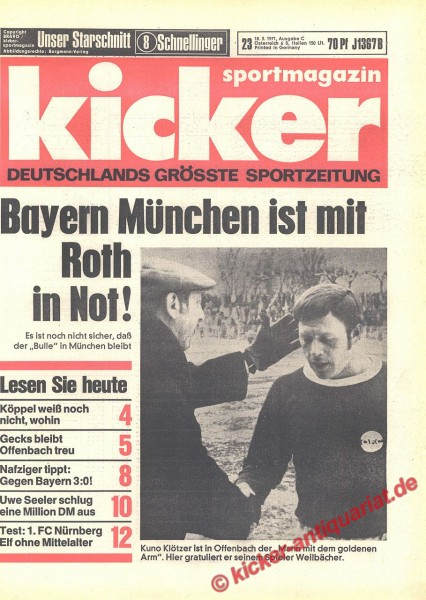 Kicker Sportmagazin Nr. 23, 18.3.1971 bis 24.3.1971
