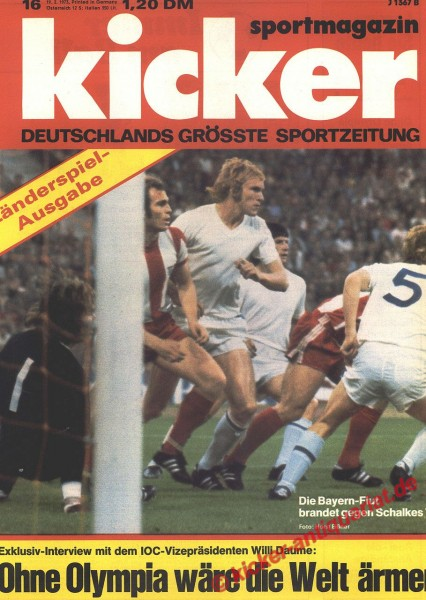 Kicker Sportmagazin Nr. 16, 19.2.1973 bis 25.2.1973
