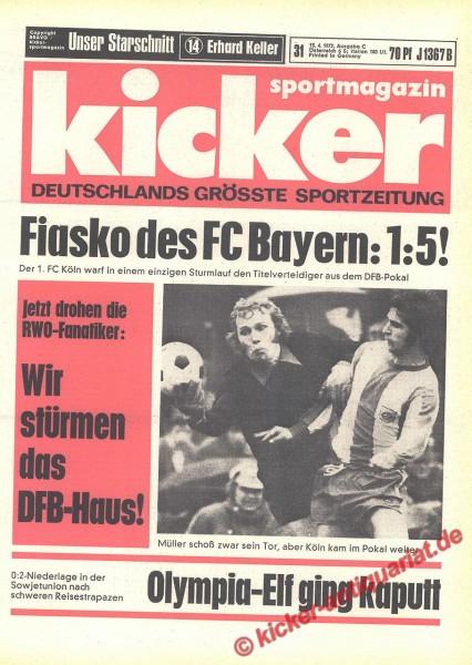 Kicker Sportmagazin Nr. 31, 13.4.1972 bis 19.4.1972