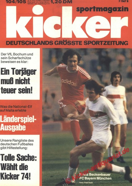 Kicker Sportmagazin Nr. 104, 23.12.1974 bis 29.12.1974