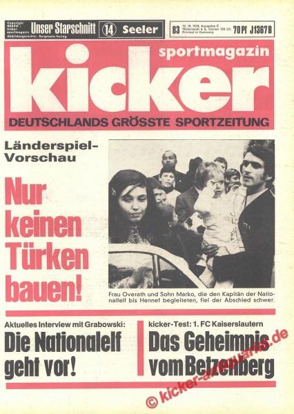 Kicker Sportmagazin Nr. 83, 15.10.1970 bis 21.10.1970