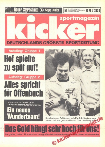Kicker Sportmagazin Nr. 51, 22.6.1972 bis 28.6.1972