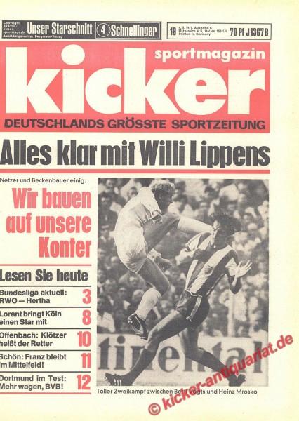 Kicker Sportmagazin Nr. 19, 4.3.1971 bis 10.3.1971