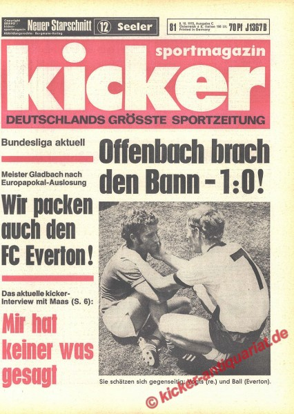 Kicker Sportmagazin Nr. 81, 8.10.1970 bis 14.10.1970
