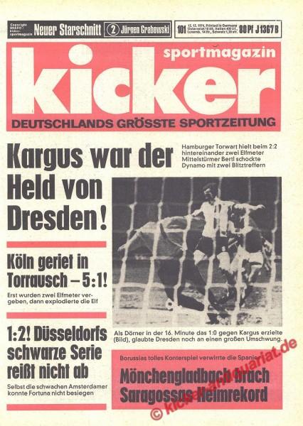 Kicker Sportmagazin Nr. 101, 12.12.1974 bis 18.12.1974