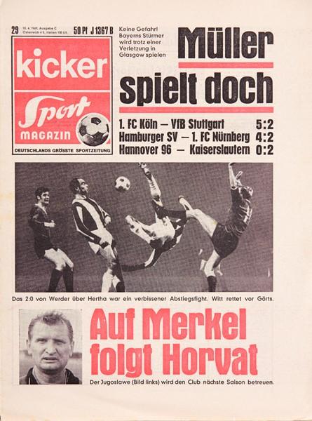 Kicker Sportmagazin Nr. 29, 10.4.1969 bis 16.4.1969