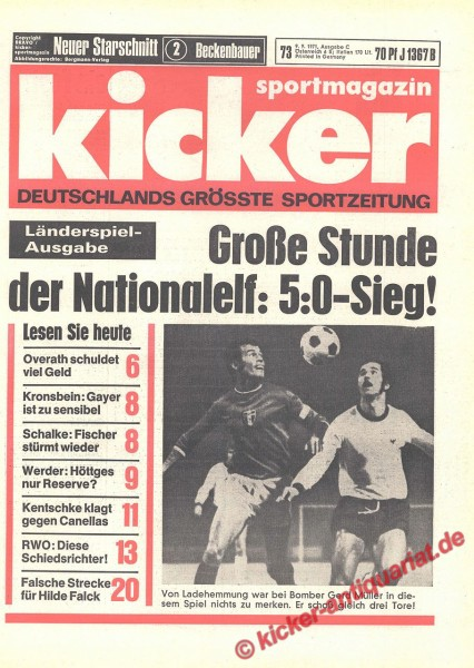 Kicker Sportmagazin Nr. 73, 9.9.1971 bis 15.9.1971